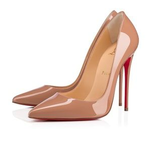 NWT Christian Louboutin So Kate Nude Patent Pumps